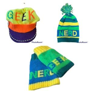 2 Colorful Winter Hats & Fingerless Gloves
